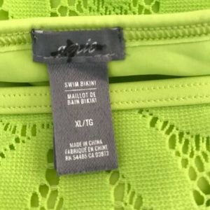 aerie Swim - Aerie Lime Green Neon Floral Lace Lined Bikini NWT